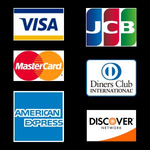 VISA,MasterCard,AmericanExpress,JCB,Diners Club,Discover Card
